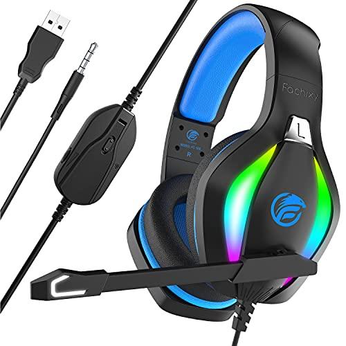Fachixy Cascos Gaming para Xbox One PS4 PS5 PC Laptop Nintendo Switch, Auriculares Gaming Estéreo Sonido, Cascos con Microfono con Luz RGB, Cascos PS4 con 3,5mm Jack con Cancelación de Ruido (Azul)