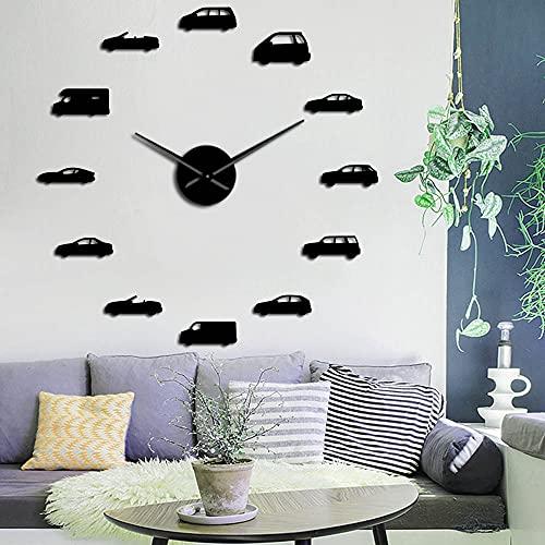 Rgzqrq Coche camión Herramienta de Transporte DIY Reloj de Pared decoración del hogar Gran Reloj de Pared Efecto Espejo Pegatina de Pared Reloj 37 Pulgadas
