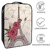 Bennigiry Roses Paris Eiffel Bolsa de Zapatos de Viaje portátil Organizador de Almacenamiento de Zapatos de Golf para Mujeres y Hombres