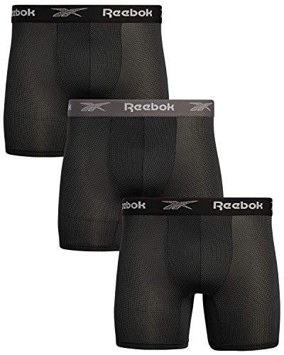Reebok Herren-Boxershorts aus Nylon-Netzstoff, feuchtigkeitsableitend, 3 Stück - Schwarz - Medium
