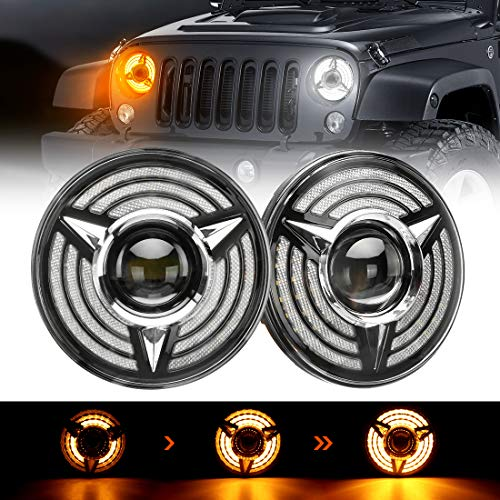 SUPAREE 7 Inch LED Triple Halo Headlights with Amber Sequential Turn Signal for H6024 2007-2017 Wrangler JK JKU TJ LJ CJ Hummber H1 H2 (Pair)