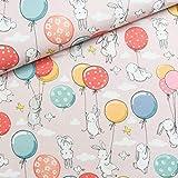50 cm x 150 cm Baumwollstoff | Häschen und Luftballons auf