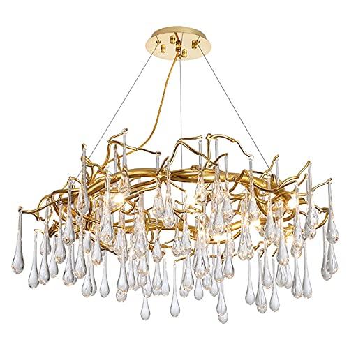 YMLSD Chandeliers,G9 Light Luxury Living Room Hotel Creative the Bar Circular Restaurant Lighting,Modern Water Droplets Crystal Chandelier,Dorado,8 Luces