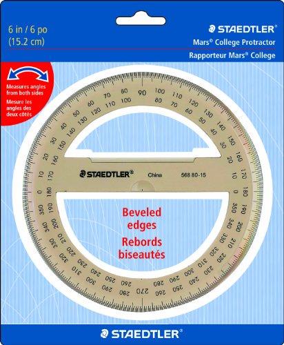 "Staedtler Protractor 6"" 360 Degrees, 56880-15BK,Clear"