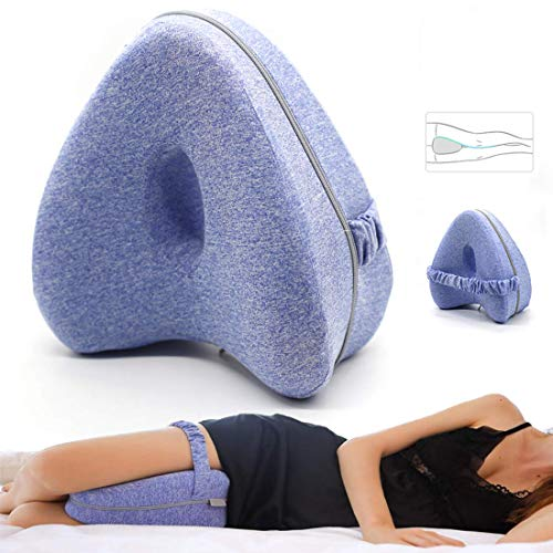 Hipeqia Kniekissen für Seitenschläfer, Memory Foam Knie Kissen Beinkissen, Blau Leg Pillow, Ergonomisches Seitenschläferkissen für stützt Beine, Knie und Rücken, Abnehmbar und Waschbar