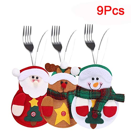 Find Bargain Movers&Shakers | 9 PCS Sachets For Cutlery Three Design Santa Claus Reindeer Snowman Fo...