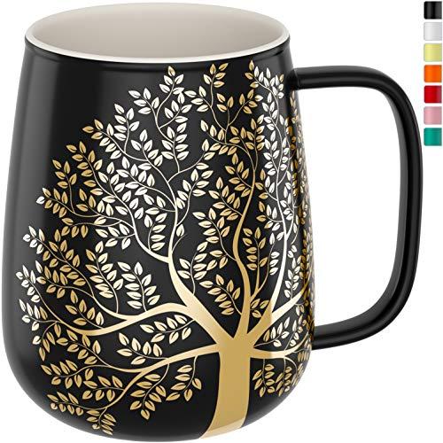 amapodo Kaffeetasse groß aus Porzellan mit Henkel 600ml Jumbo Kaffeebecher Dunkelgrau Geschenke für Frauen Männer