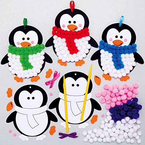 Baker Ross AX356 Penguin Pom Pom Decoration Kits - Pack of 5, Christmas Tree Ornmanets for Kids Arts and Crafting Activities