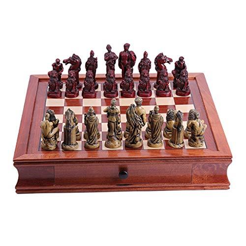 Tablero Antiguo Chess Chess Figura Tridimensional Pieza de ajedrez para la Mesa de ajedrez de Caoba Decoración de artesanía Ajedrez y Damas (tamaño : 42 * 42 * 8CM)