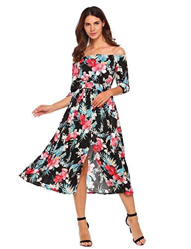 Meaneor dames strapless jurken bloemen 3/4 mouwen split maxi-jurken strandjurken met riem zomer herfst lente