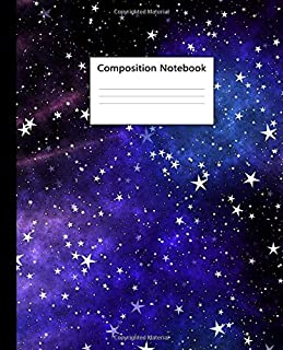 Composition Notebook: Galaxy, Night Sky & Cosmic Space Blank Wide Ruled Notebook for College & School | Pretty Blank Wide Lined Journal For Students, Kids & Teens for Writing & Notes.