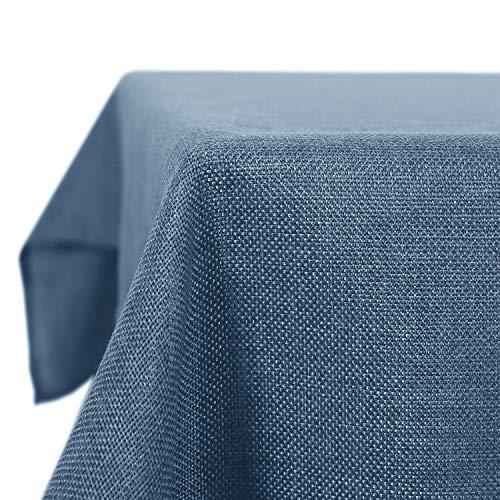 Deconovo Tischdecke Lotuseffekt Tischtuch Leinendecke Tischwäsche Eckig Wasserdicht 130x220 cm Blau