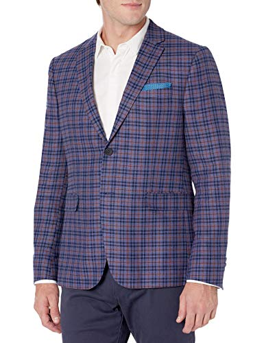Original Penguin Mens Sports Coat, Bright Blue Plaid, 46 Regular