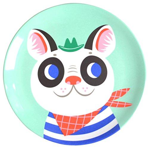 Helen Dardik Melamine Side Plate - French Bulldog on Mint Green Plate