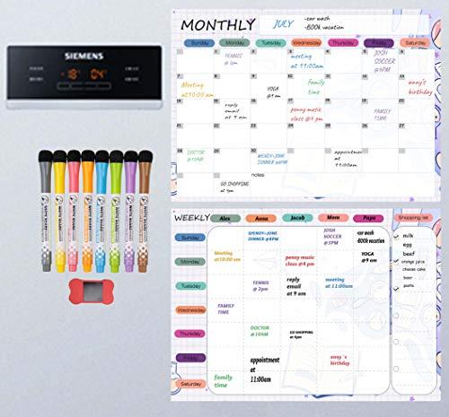 VKOPA Magnetic Dry Erase Board for Kitchen Bundle -Magnetic Calendar Board, Weekly to Do List, Meal Planning Magnet for Fridge. Magnetic whiteboard for Refrigerator Planner 8 Markers 1 Eraser