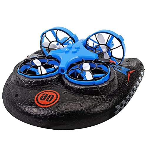 Mini Drone 3 in 1 Elicottero, Acqua, Terra, Aria 3 in 1 Telecomando Aereo Hovercraft Hovercraft Drone Giocattolo Elettrico per Ragazzo (Senza Batteria)