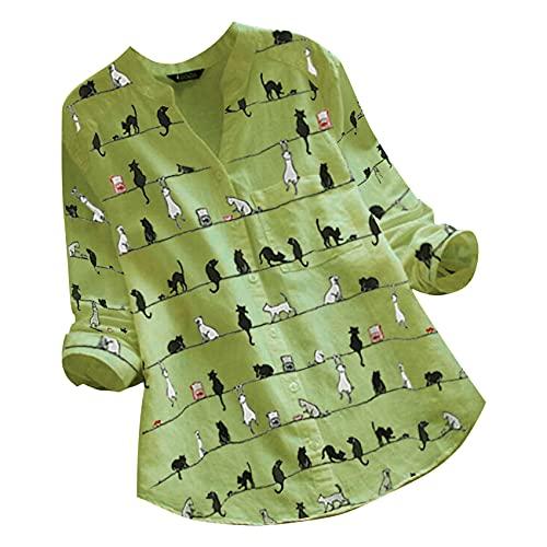 Top De Lino De Moda para Mujer, Blusas Elegantes con Estampado De Gato, Camisa con Botones con Cuello Redondo para Mujer, Blusa De Verano, Blusas De Talla Grande 5XL