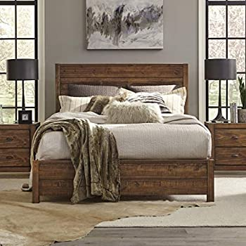 Grain Wood Furniture Montauk Full-Size Solid Wood Panel Bed Rustic Walnut Industrial Farmhouse Shabby Chic