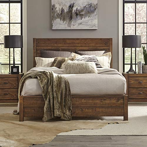 Grain Wood Furniture Montauk Full Size Solid Wood Panel Bed Rustic Walnut