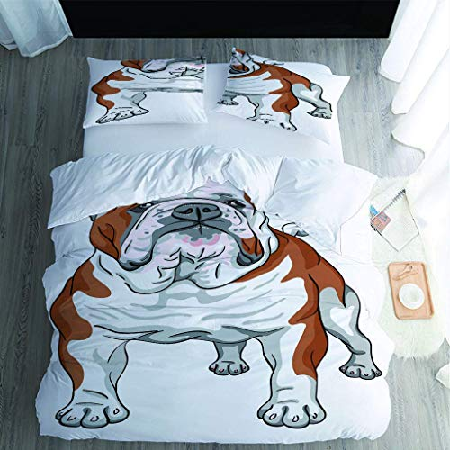 LCJYXNP 3 Pieces Single Duvet Cover Set - 3D Pet Dog Printed Bedding Set - 1 Duvet Cover 135X200cm Plus 2 Pillow Covers - Ultra Soft Hotel Quality Wrinkle And Fade Resistant