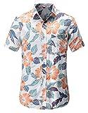 Dioufond Hawaiana Camicia da Uomo Bianco 3XL