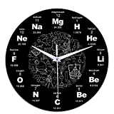 <span class='highlight'><span class='highlight'>AOZBZ</span></span> Science Periodic Table Wall Clock Chemistry Science Periodic Table Hanging Clock Round Acrylic Mute Home Decor Wall Clock 12 inch for Childrens Room Living Bedroom,Black