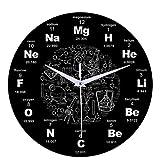 PopHMN Horloge Murale Moderne avec Tableau Périodique des Sciences De La Chimie, Horloge Symbole De La Chimie des Sciences, Horloge Murale Muette en Acrylique Ronde pour Bureau