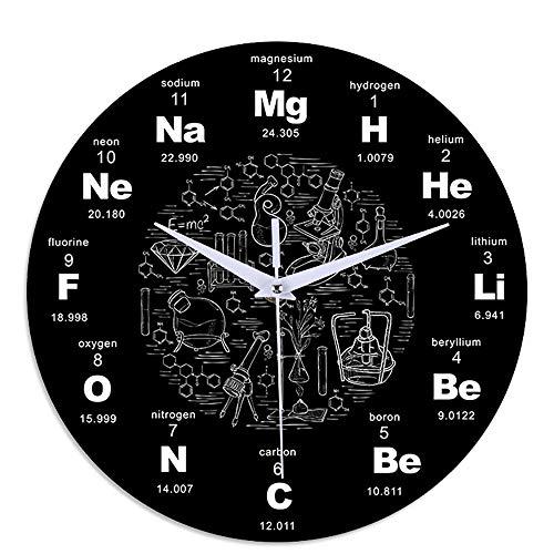 Reloj de pared con mesa periódica de ciencias químicas, regalo para profesores de química, reloj de símbolos de ciencias químicas, 12 pulgadas