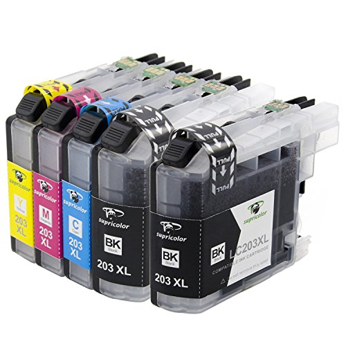 Supricolor LC203 Compatible Ink Cartridges 1 Set+1 BK for LC203XL for Brother MFC-J4320DW MFC-J4420DW MFC-J4620DW MFC-J5520DW MFC-J5620DW MFC-J5720DW