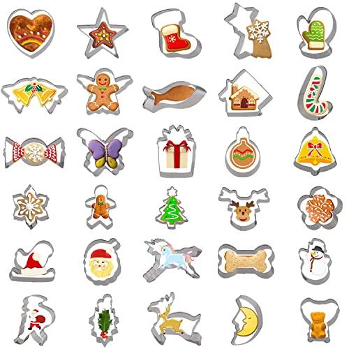 YILEEY 30 PCS Stampi per Biscotti, Set di Formine Biscotti Natalizie in Acciaio Inossidabile. Stampi per Biscotti Bambini. tagliabiscotti, torte, panini, Natale, Halloween. Fiocco di neve.