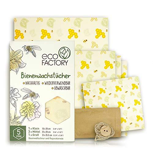 Juego de paños de cera de abeja natural y algodón orgánico de Eco Factory para almacenamiento de alimentos, reutilizables, naturales y sostenibles, certificado LFGB
