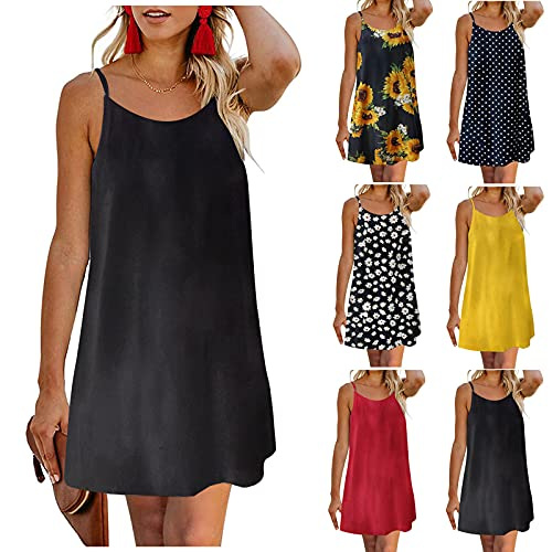 vermers Tops Women Sling Adjustable Strap Backless Casual Party Bohemian Dress Sleeveless Solid/Print O-Neck Mini Dress