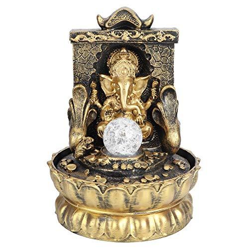 Fuente de escritorio, fuente de agua eléctrica de mesa Meditación Zen portátil Feng Shui Elephant Buddha Waterfall Kit con luces LED Incluye bomba silenciosa sumergible para decoración del hoga(yo)