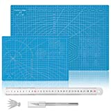 2 Pack Self Healing Double Sided Sewing Mat, A3+A4 Rotary Cutting Mat with Craft Knife and 5 Blades, Gridded Rotary Cutting Board for Quilting Sewing Craft Hobby Fabric & Scrapbooking (Blue)