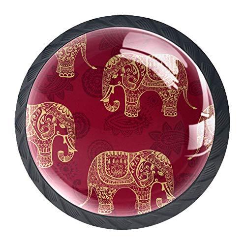 Set di 4 pomelli rotondi per mobili, design etnico cachemire elefante, per cassetti, credenze, armadi, maniglie per la casa e la cucina