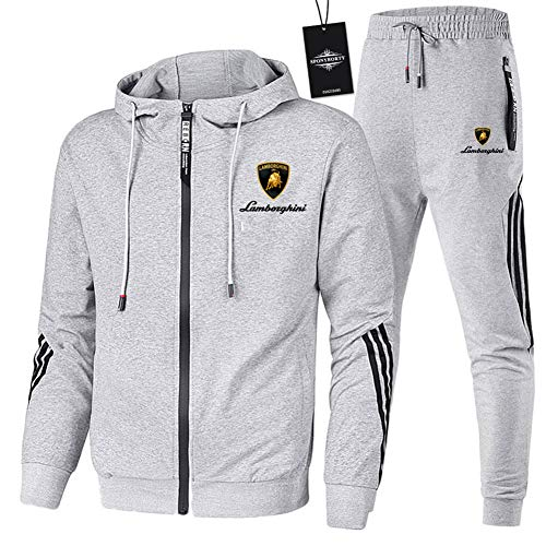 Hönack Men and Women Tracksuit Set for Lam_Bo.Rg_Hini-s Two-Piece Stripe Hooded Jacket Pants Sportwear Casual/Grey/M