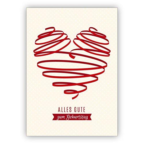 Leuke verjaardagskaart met groot rood hart: alles goed voor een verjaardag • rechtstreeks verzenden met uw tekst als inlegger • mooie felicitatiekaart met envelop