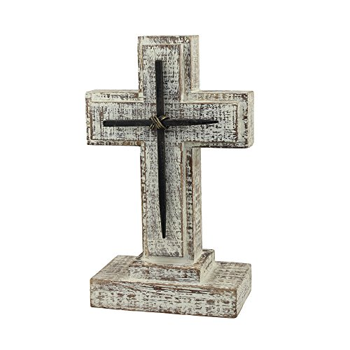 Stonebriar Accents of Faith 9' Wooden Pedestal Cross with Metal Details, Gray