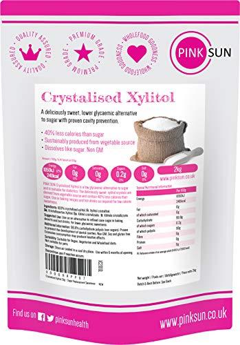 PINK SUN Xilitolo 2kg Dolcificante Cristalli 100% Puro Sostituto Dello Zucchero Alternativo Senza Glutine Vegano Vegetariano Basso Contenuto di Carboidrati Non OGM Xylitol Bulk