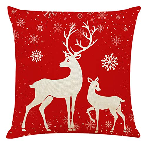 Fineday Pillow Case Christmas Pattern Sofa Car Throw Cushion Cover Home Decor, Pillow Case, Home Products for Christmas Day (Red)