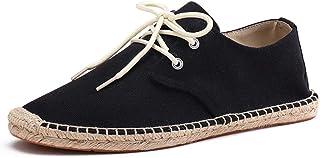 Mallimoda Espadrilles Unisex en Toile Cousue Plates Homme/Femme à Lacets Chaussures de Marche Casual