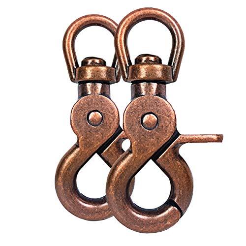 Ganzoo Scheren-Karabiner Haken mit Dreh-Gelenk/Dreh-Kopf für Hunde-Leine/Hals-Band 2er Set, legierter Stahl ? 61mm Länge, auch für Paracord 550 / Schlüssel-Anhänger, Farbe: braun
