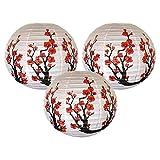 BDZC Accesorios Brillante como Nuevo Conjunto de 3 Rojo Sakura (Cherry) Papel Blanco de Las Flores de Color Chino/japonés Linterna/lámpara de 16 Pulgadas de diámetro, Juego de 3 Accesorios