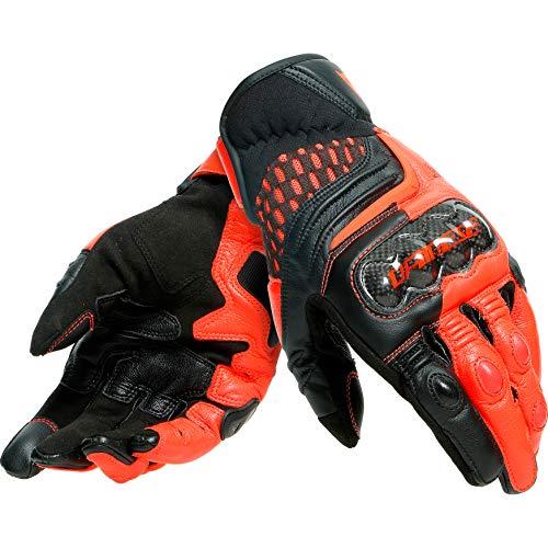 Dainese Motorradhandschuhe kurz Motorrad Handschuh Carbon 3 Handschuh kurz schwarz/fluo-rot L, Herren, Sportler, Ganzjährig, Leder/Textil