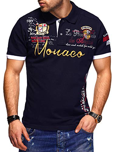 behype. Herren Kurzarm Polo-Shirt Bedruckt 20-0004 Navy XXL