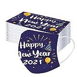 10/50 Stück 3-lagiger Einmal-Mundschutz 2021 Happy New Year Schwarz Atmungsaktiv Erwachsene Mundbedeckung für den Außenbereich (10 Stück, Mehrfarbig)