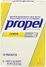 Propel Powder Packets Lemon With Electrolytes, Vitamins and No Sugar, 0.08 Oz, Pack of 10