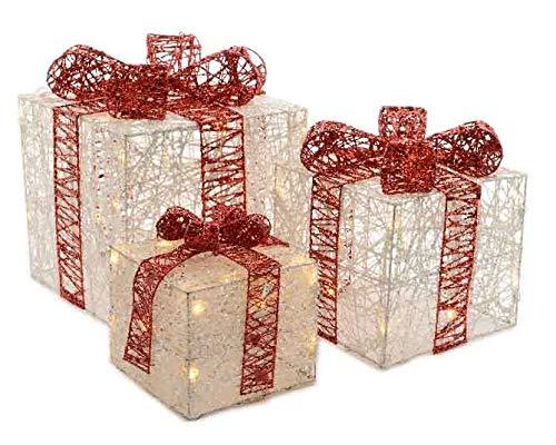 """Weihnachtsbeleuchtung\""""Geschenke Set 3tlg.\"""" modern rot weiß Weihnachtsdeko Weihnachten Innenbeleuchtung Indoor Innen Stimmungslicht"""