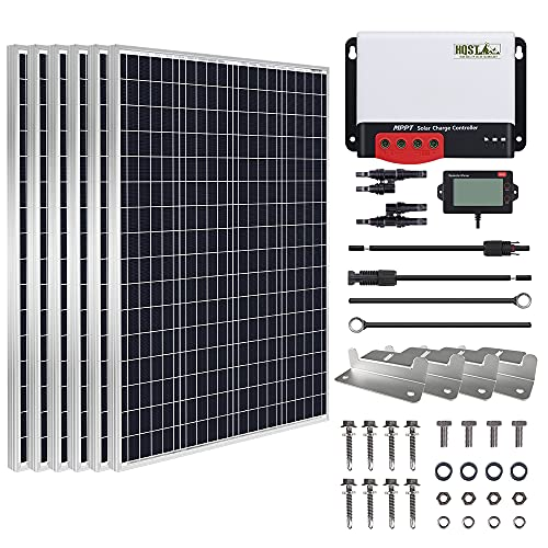 HQST 600 Watt 12 Volt Monocrystalline Solar Panel Kit with 40A MPPT Charge Controller, Z Bracket, 20FT 10AWG Cable,8Ft 8AWG Controller and Battery Connector Cables