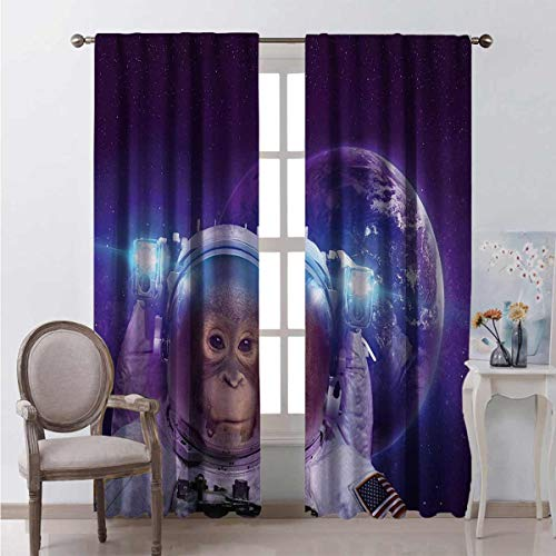 Toopeek Space Blackout Curtain Astronaut Monkey on Outer Space with Planet Earth Background Humor Image Print 2 Panels W54 x L72 Inch Violet White